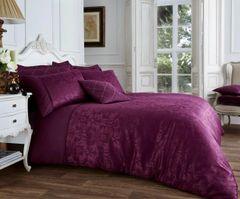 Vincenza aubergine cotton blend duvet cover