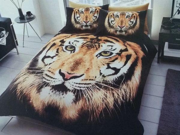 3D print Tiger Face brown cotton blend duvet cover