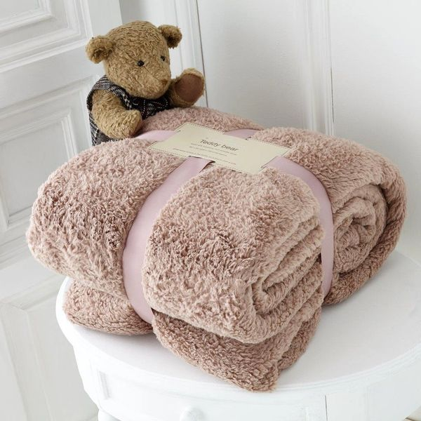 Teddy fleece plain mink throw