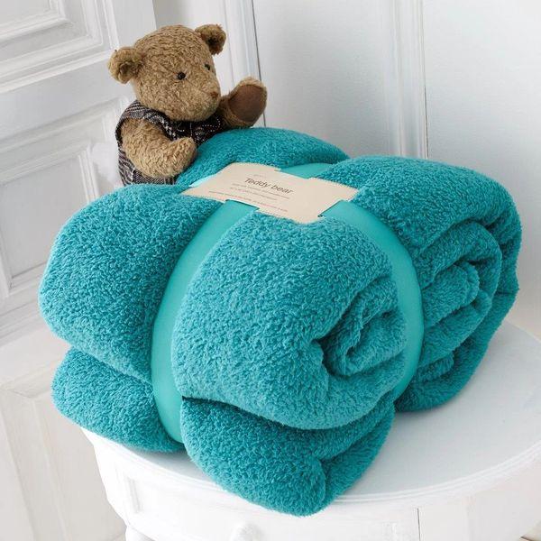 Teddy fleece plain teal throw