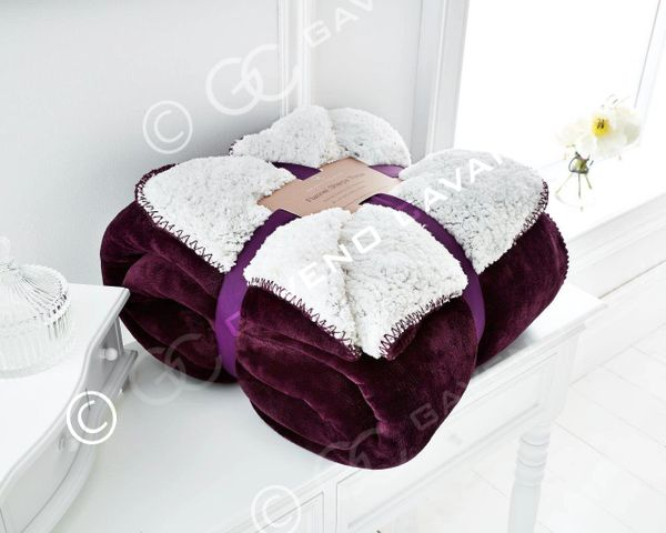 Flannel Sherpa fleece aubergine throw