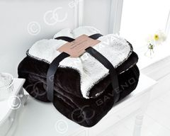 Flannel Sherpa fleece black throw