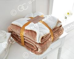 Flannel Sherpa fleece gold throw