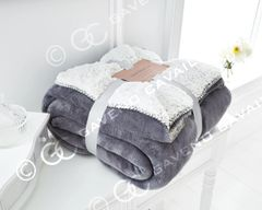 Flannel Sherpa fleece silver throw