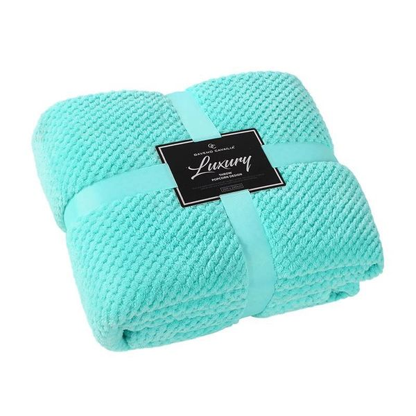 Popcorn plain aqua fleece throw