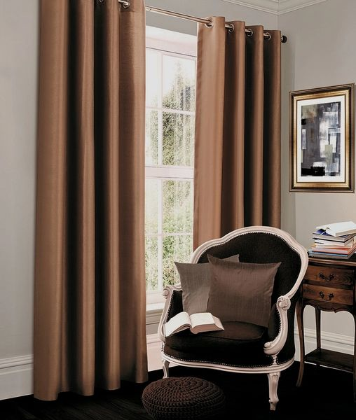 Thermal blackout oyster eyelet curtains