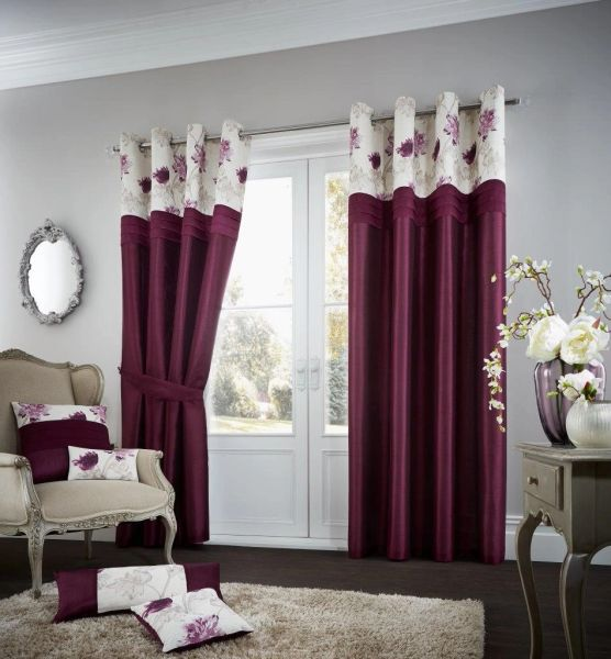 Floral strip aubergine eyelet curtains