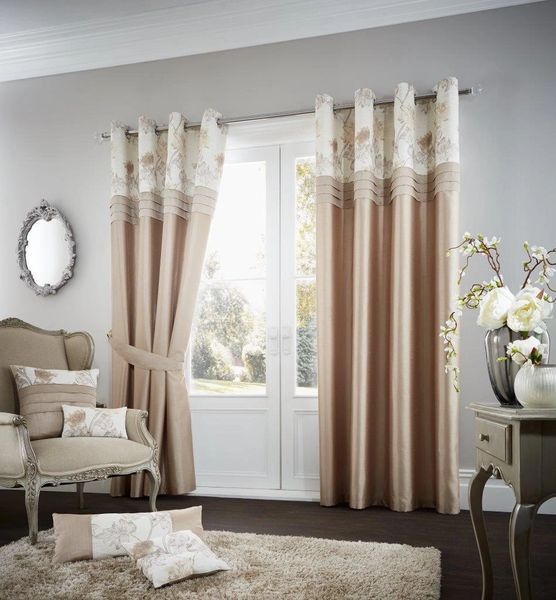 Floral strip latte eyelet curtains