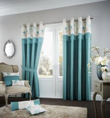 Floral strip teal eyelet curtains