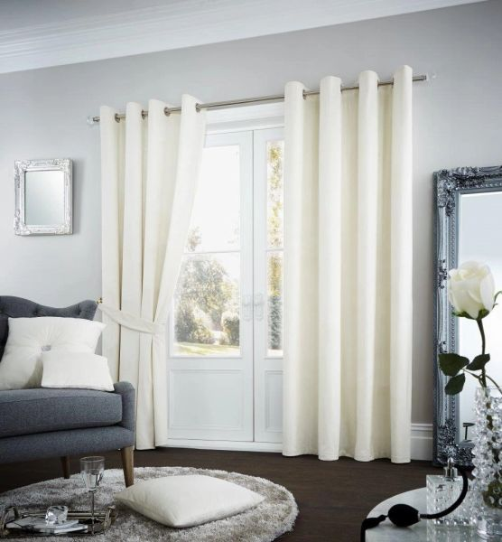 Riviara velvet cream eyelet curtains