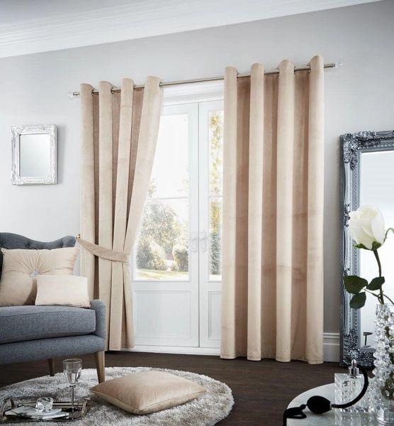 Riviara velvet latte eyelet curtains