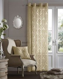 Flock damask cream voile eyelet curtain panel