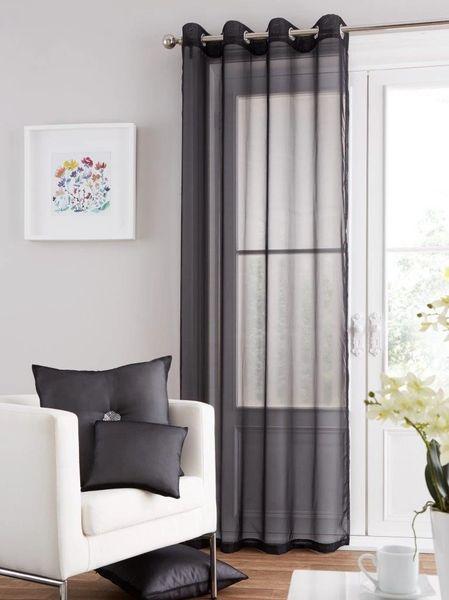 Swiss voile black eyelet curtain panel