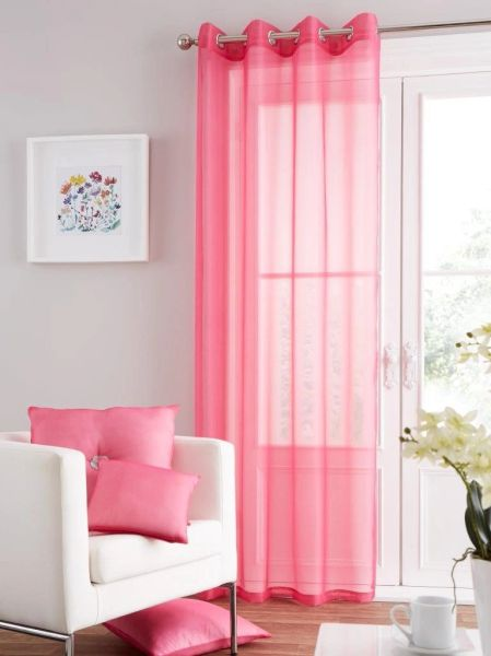 Swiss voile fuchsia pink eyelet curtain panel