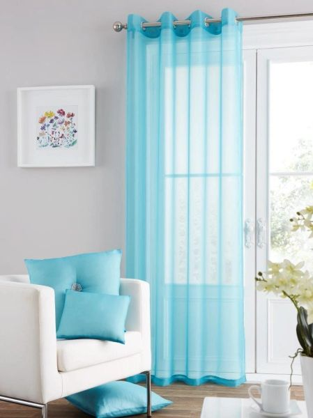 Swiss voile teal eyelet curtain panel