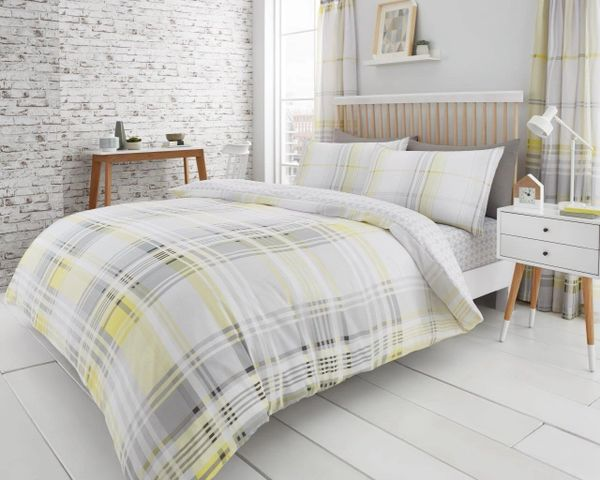 Jackson Check grey & yellow cotton blend duvet cover