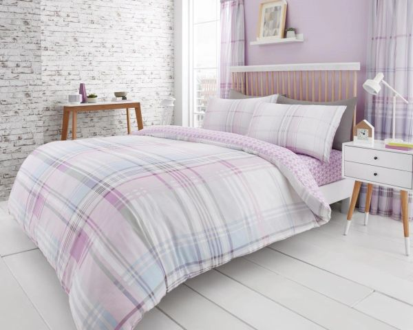 Jackson Check purple duvet cover