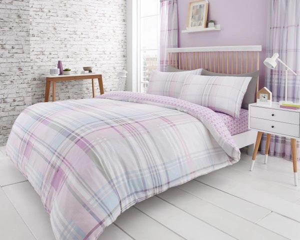 Jackson Check purple cotton blend duvet cover