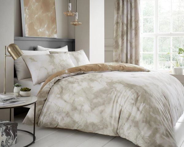 Marble natural cotton blend duvet cover