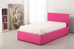 Pink faux leather single ottoman storage bed