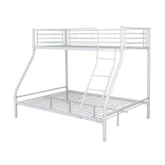 White triple metal bunk beds