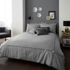 Aura silver cotton blend duvet cover