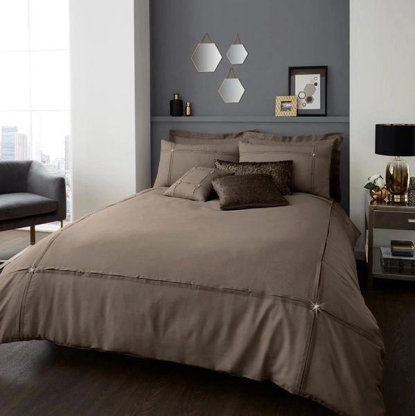 Aura oyster cotton blend duvet cover