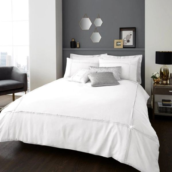 Aura white cotton blend duvet cover