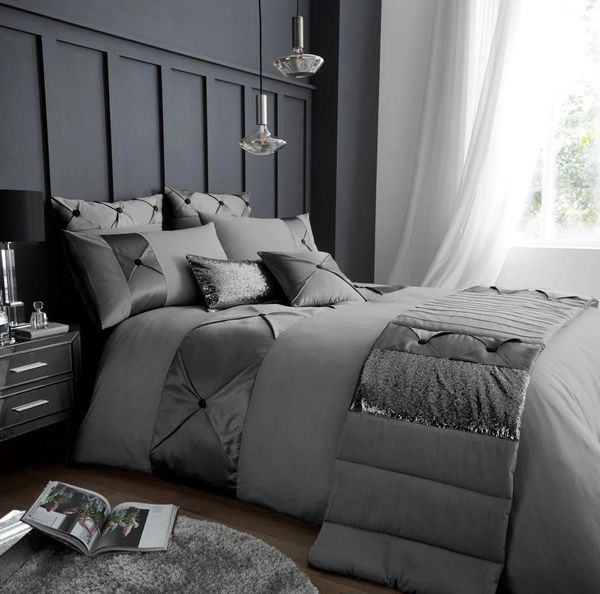 Lush silver cotton blend duvet cover