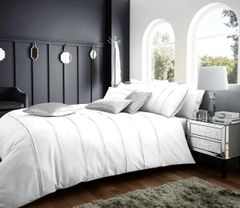 Schema white cotton blend duvet cover