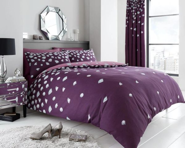 Be Jewelled aubergine duvet cover