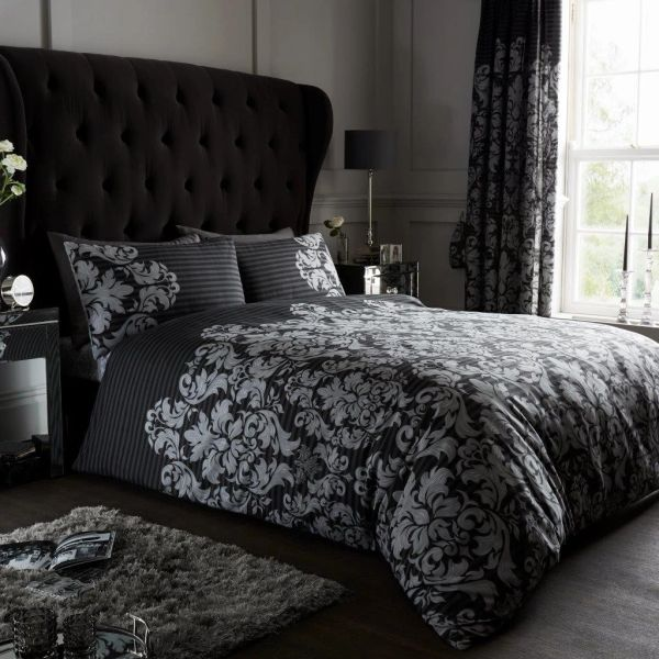 Empire black cotton blend duvet cover