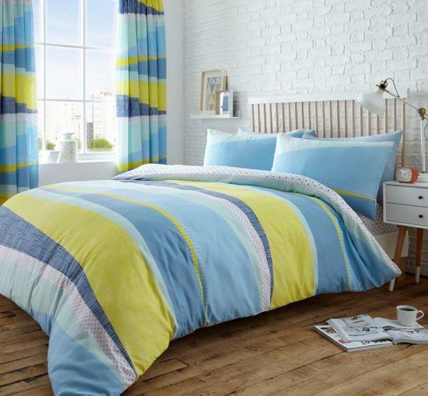 Dexter blue & yellow cotton blend duvet cover