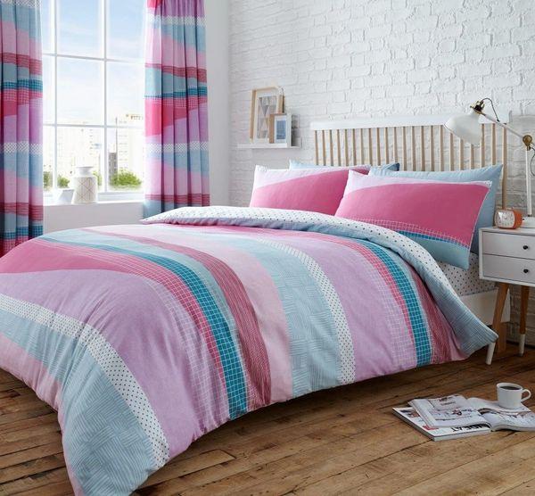 Dexter pink cotton blend duvet cover