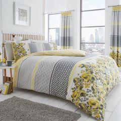 Saphira yellow & grey cotton blend duvet cover