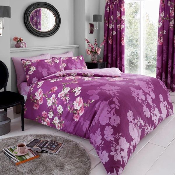 Roseanne purple cotton blend duvet cover