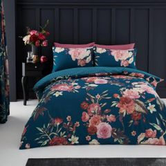 Flora teal duvet cover