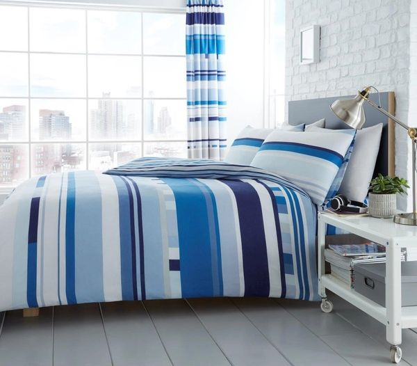 Chester Stripe blue cotton blend duvet cover