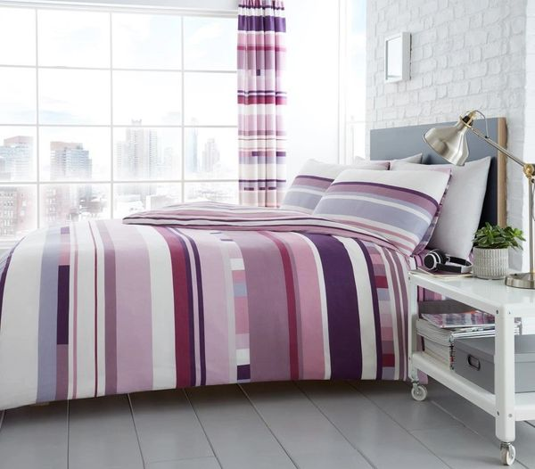 Chester Stripe purple cotton blend duvet cover