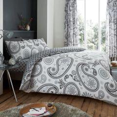 Florance Paisley grey cotton blend duvet cover