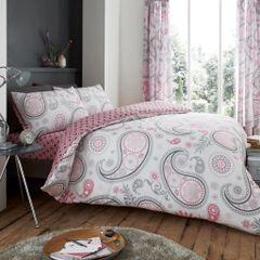 Florance Paisley pink cotton blend duvet cover