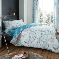 Florance Paisley teal cotton blend duvet cover