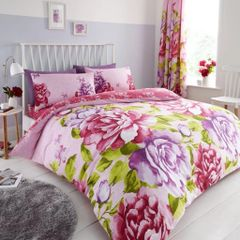 Aubrey pink cotton blend duvet cover