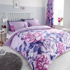 Aubrey purple cotton blend duvet cover