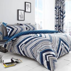 Austin blue cotton blend duvet cover