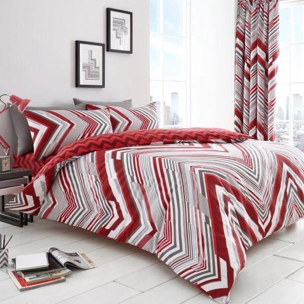 Austin red cotton blend duvet cover