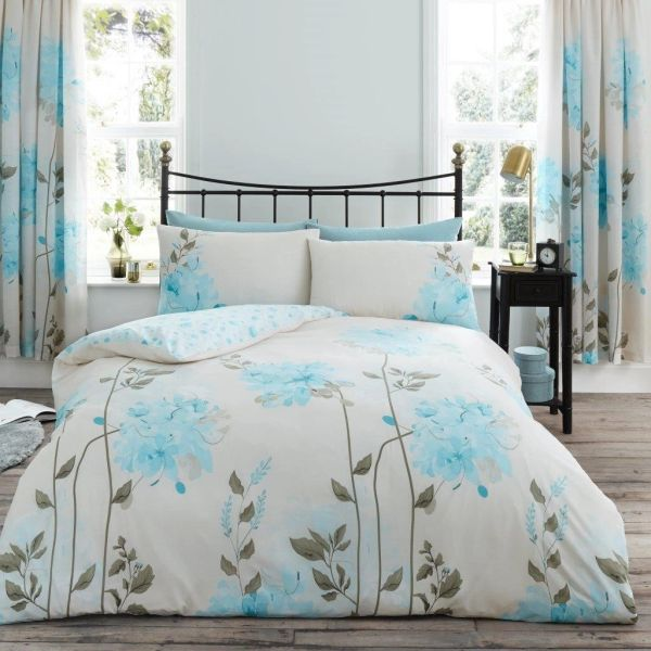 Camilla teal cotton blend duvet cover