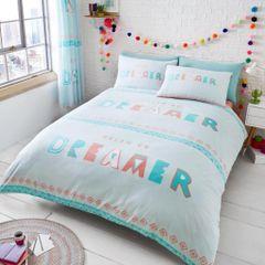 Dream On light teal cotton blend duvet cover