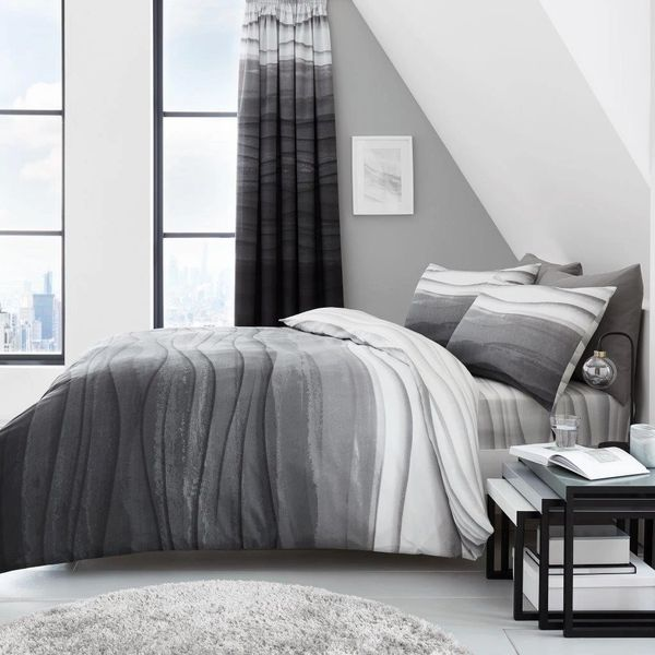 Wave Ombre grey duvet cover