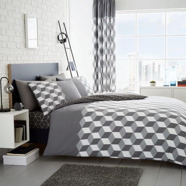 Cubix grey duvet cover